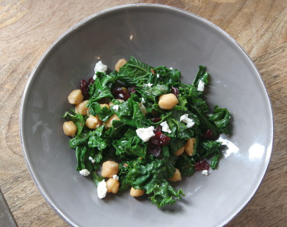 Kale Salad with Cranberries Pecans and Beans 65852