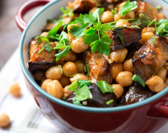 Eggplant feta bulgur chickpea salad with pine nuts