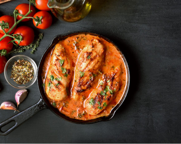 chicken with almond romesco sauce