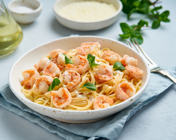 six minute shrimp with pasta