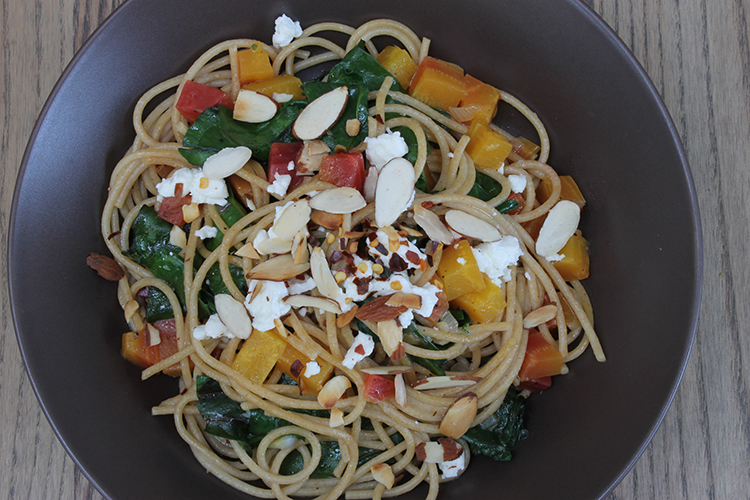 Beets and Pasta with Feta and Almonds