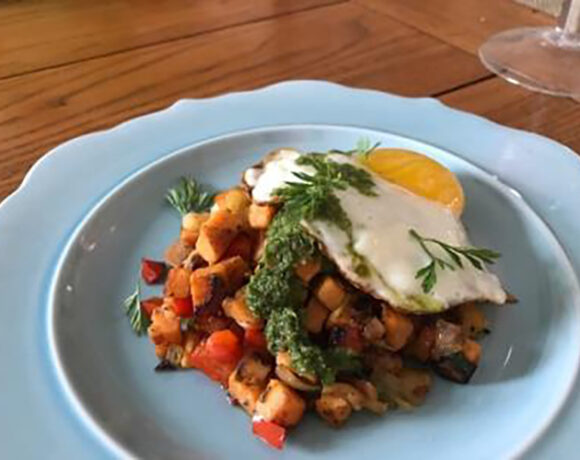 sweet potato hash with sunny side up egg