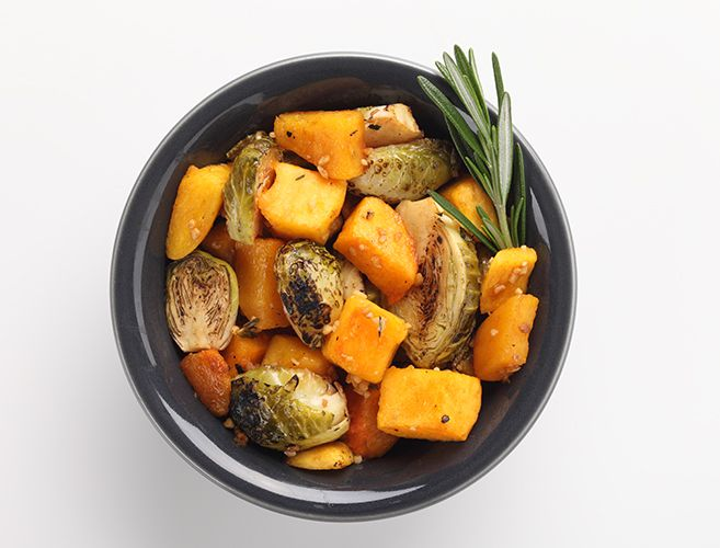 Balsamic Roasted Pumpkin and Brussels Sprouts with Garlic and Thyme