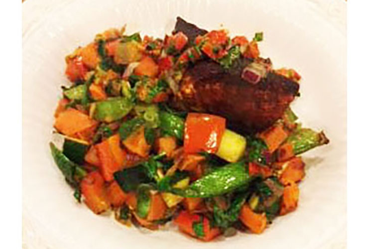 Sweet potato hash with seared salmon