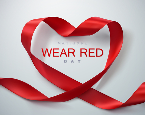 Wear Red Day with red ribbon